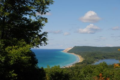 Beautiful elevated view of the Sleeping Bear Dunes shoreline