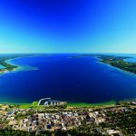Aerial view of Traverse City, Old Mission Peninsula, and the Grand Traverse Bays