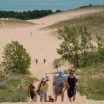 Looking down from atop one of the many dunes at Sleeping Bear Dunes National Lakeshore